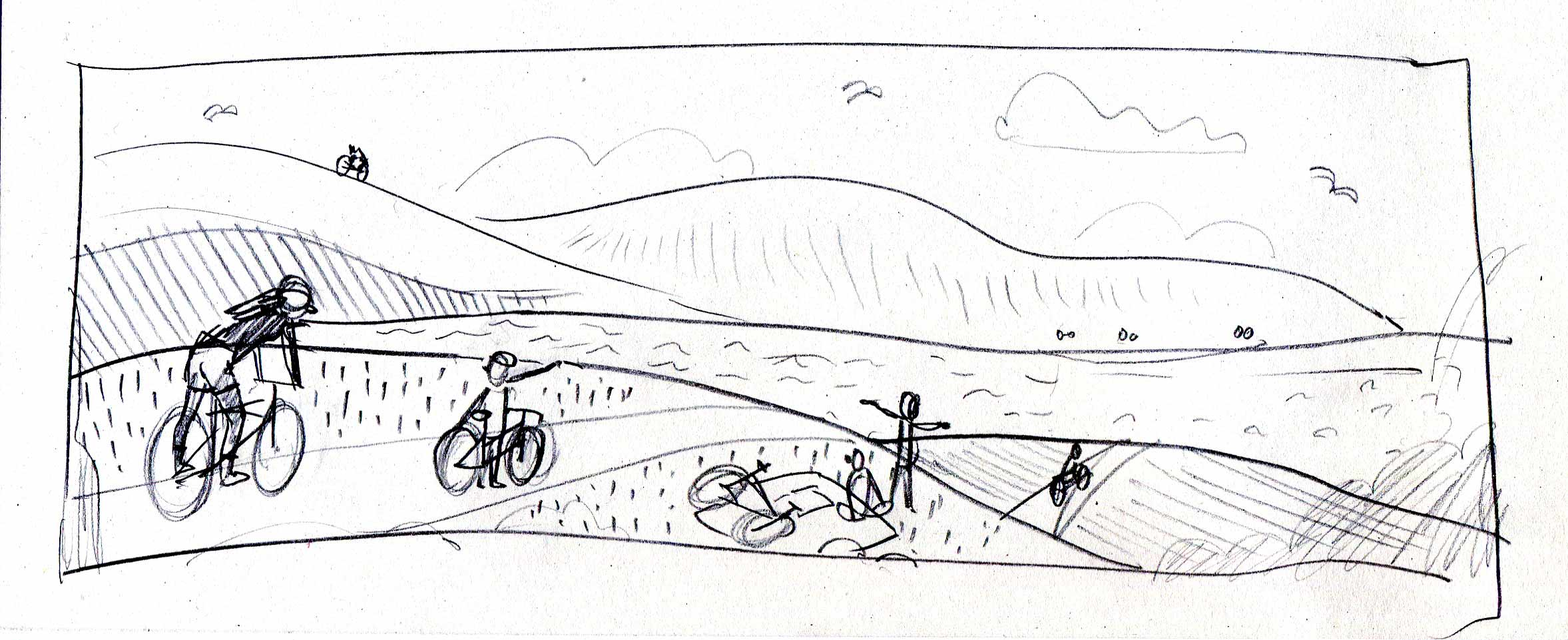Rough Process Sketch for Cycling Banner Illustration
