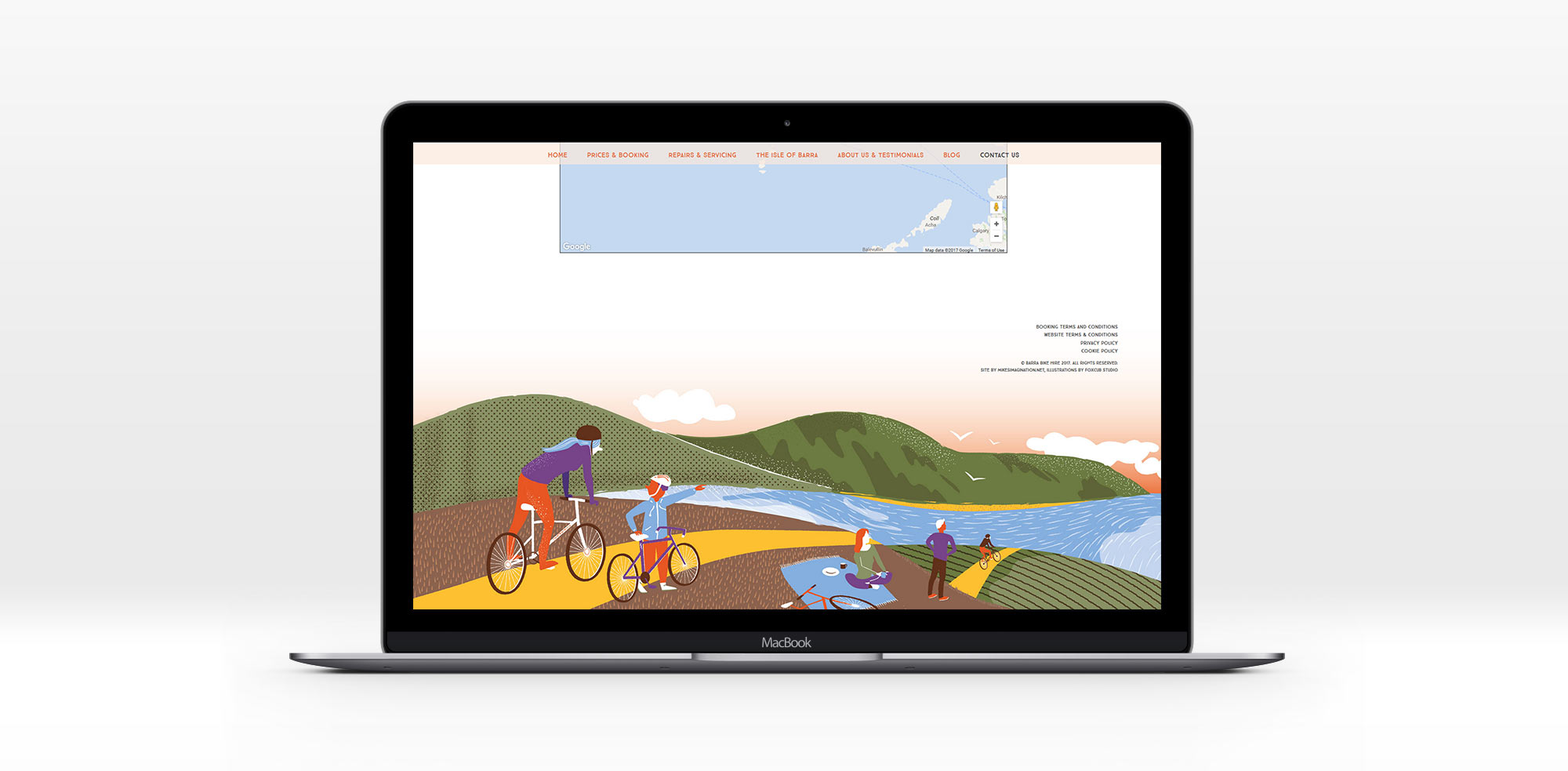 Web Mock up for Barra Bike Hire by Foxcub Studio
