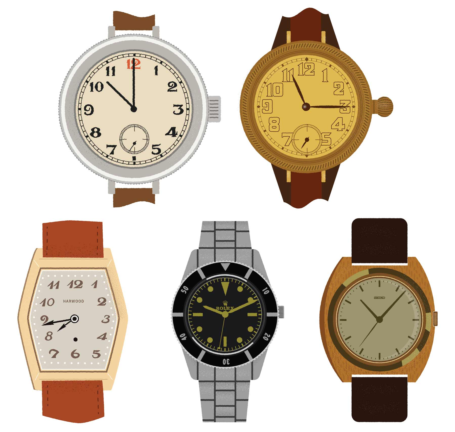 Vintage Watch Illustrations - Rolex, Harwood & Seiko