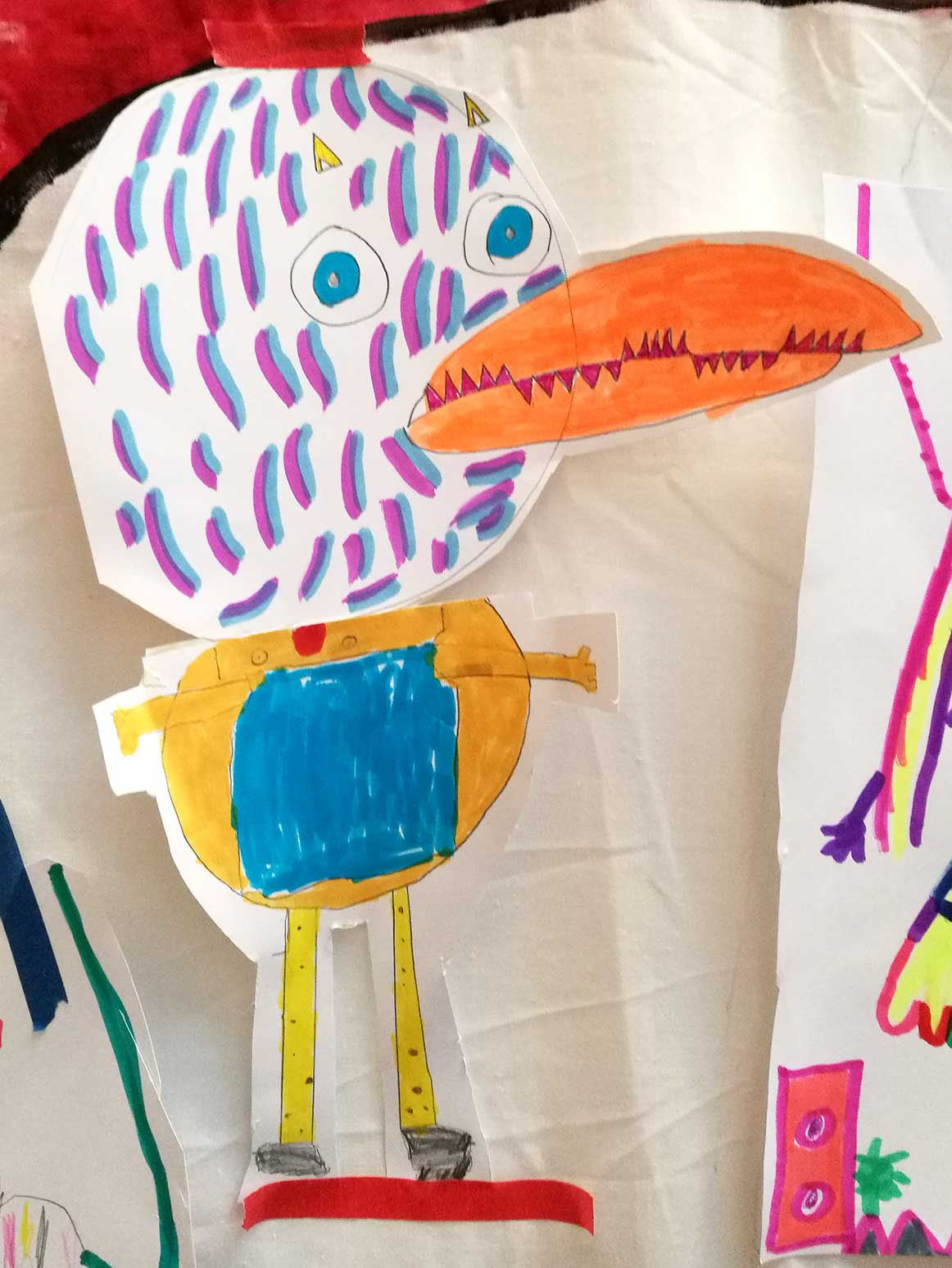 Some of the characters created by kids for the illustration workshops