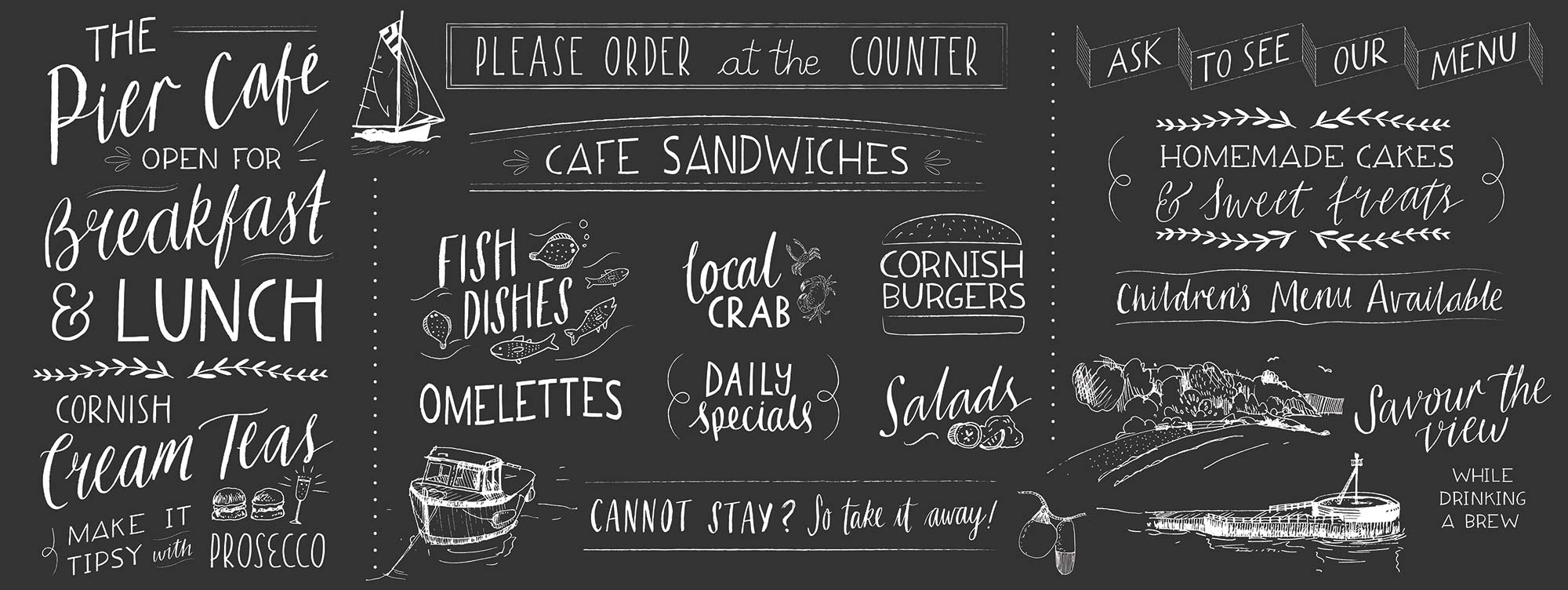 Chalkboard Custom Lettering for Cornish Seaside Cafe by Elly Jahnz, Foxcub Studio