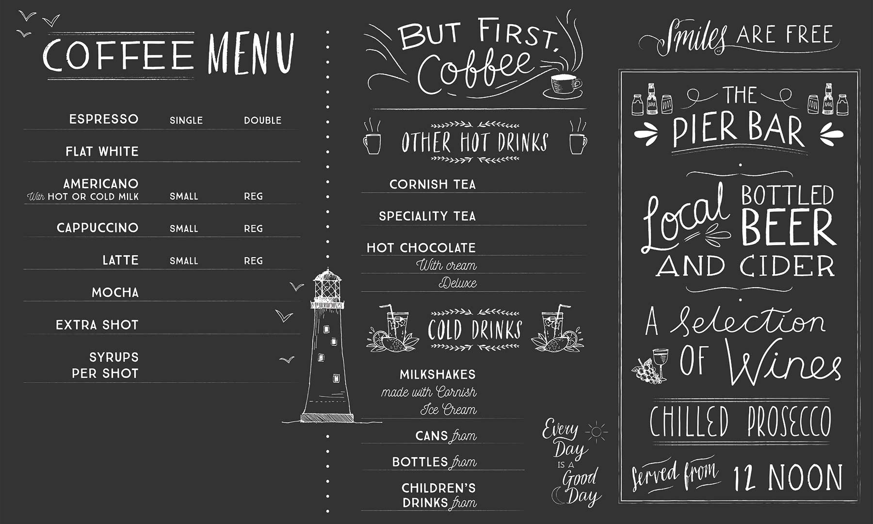 Custom Chalkboard Menu for Cornish Seaside Cafe pt 2 by Elly Jahnz, Foxcub Studio