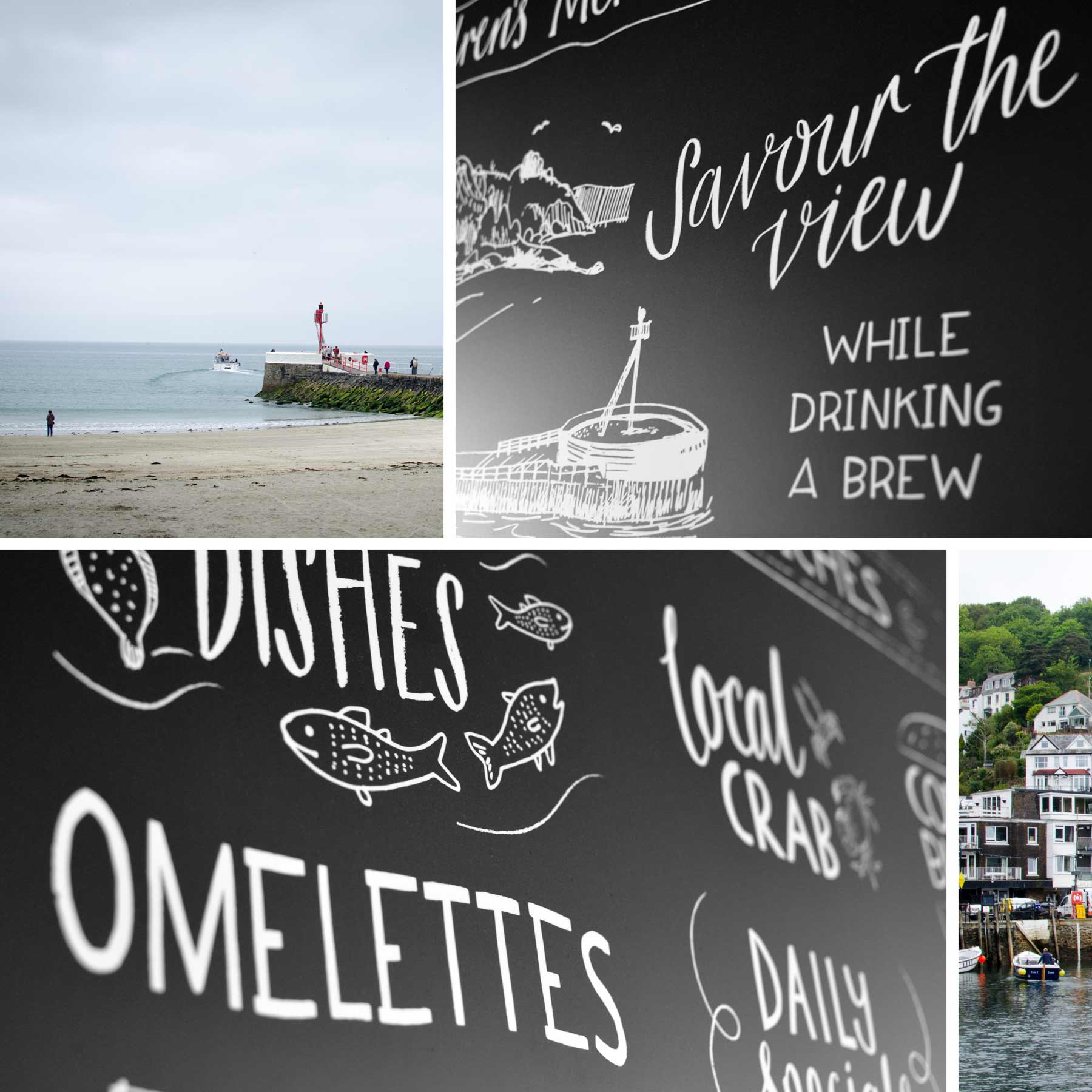 Montage of Custom Chalkboard Menu for Cornish Seaside Cafe by Elly Jahnz, Foxcub Studio