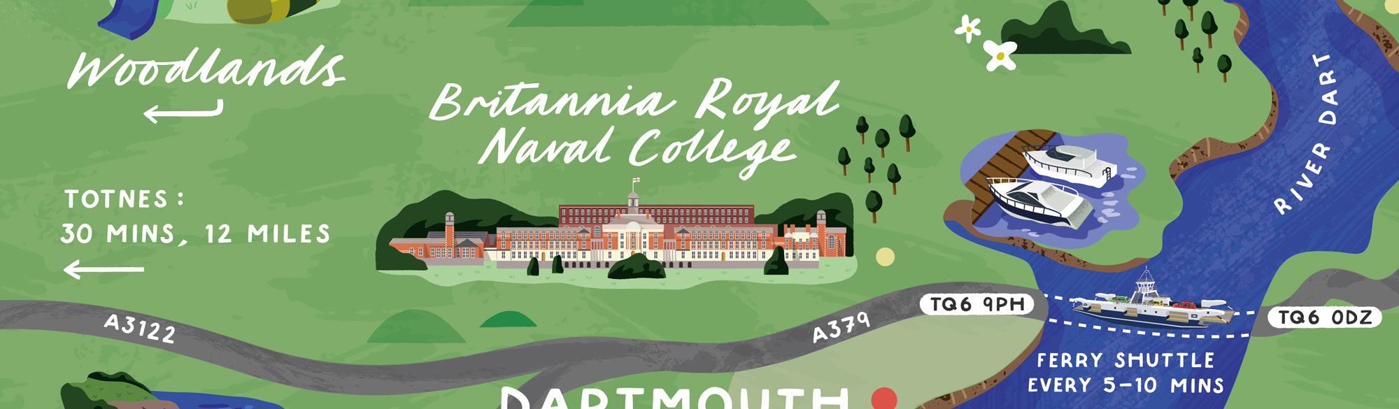 A section of the map for Dartmouth Higher Ferry by Elly Jahnz