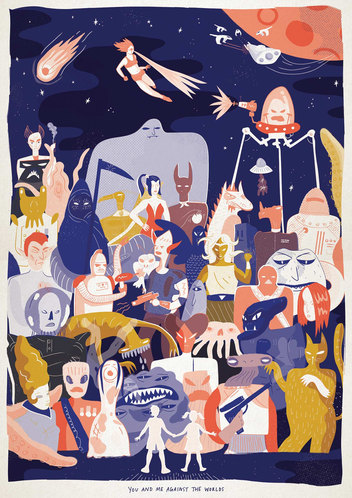 Retro style sci-fi illustration celebrating all the bad guys, monsters and demons thwarted by plucky youngsters. By Elly Jahnz