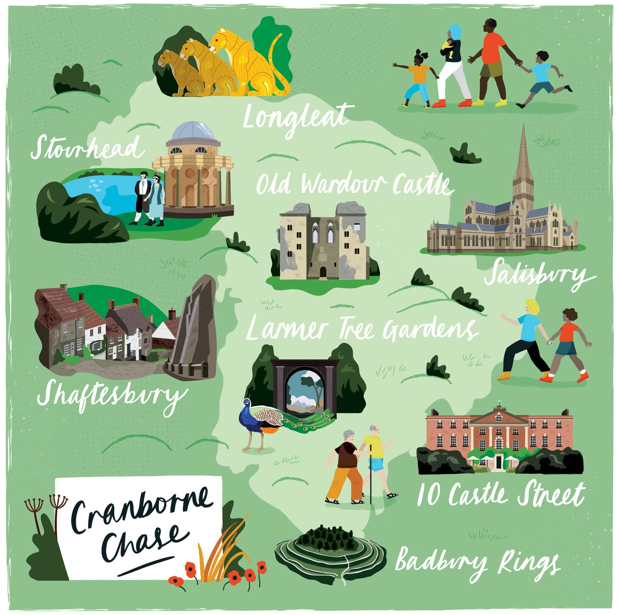 An illustrated map of Cranborne Chase for Discover Britain by Elly Jahnz