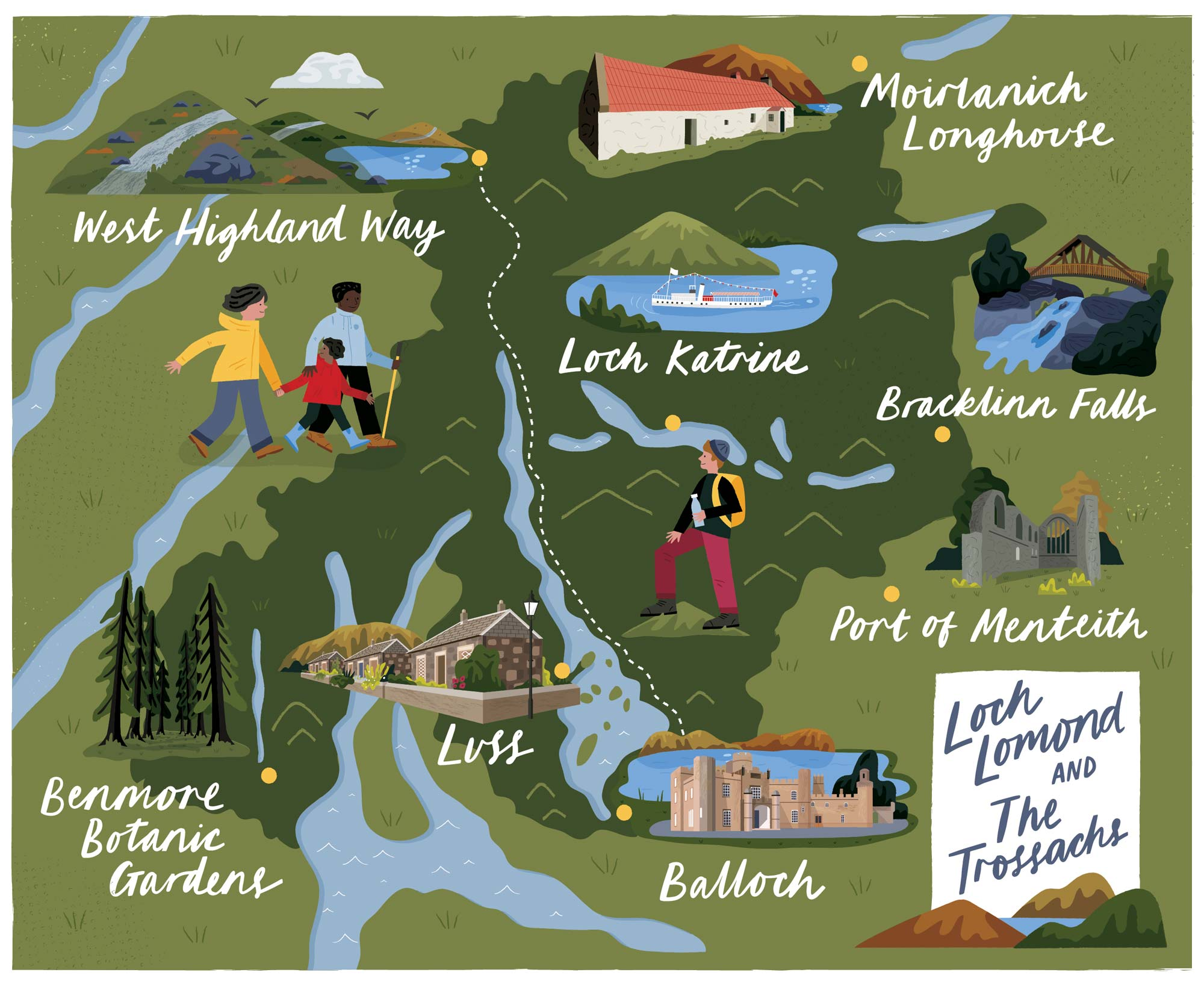 A map of Loch Lomond for Discover Britain by Elly Jahnz