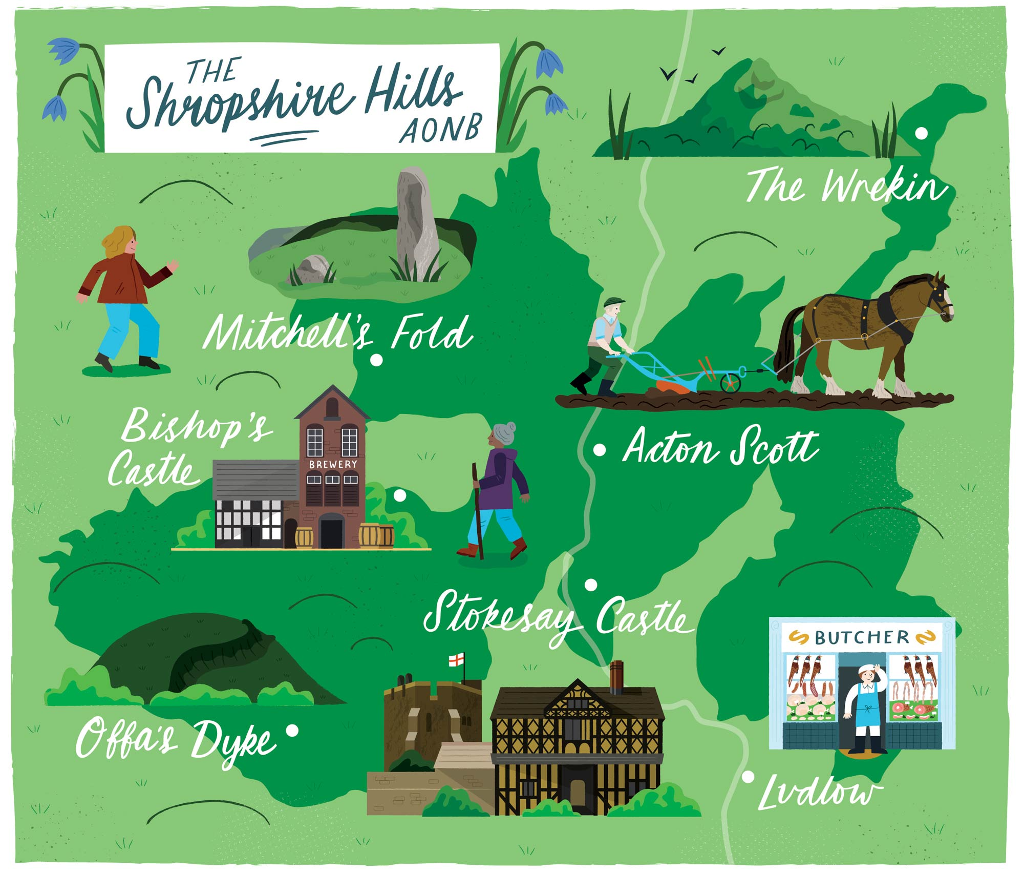 A Map of the Shropshire Hills for Discover Britain by Elly Jahnz