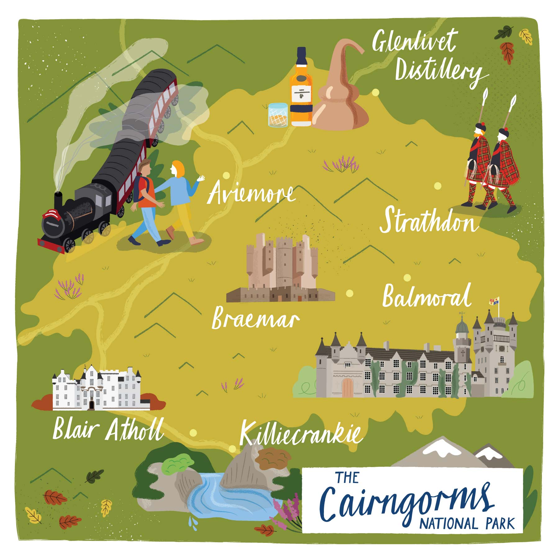 A map of the Cairngorms National Park by Elly Jahnz for Discover Britain