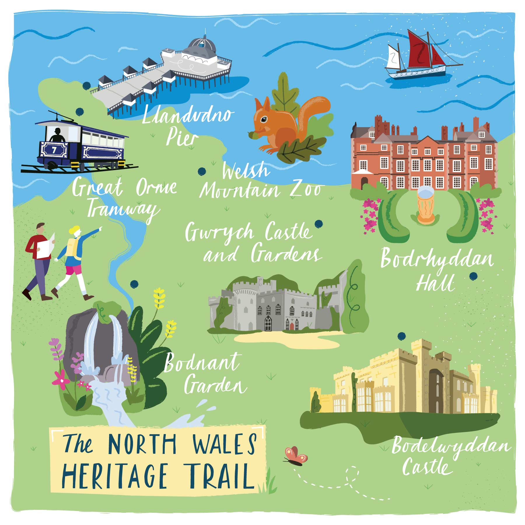 A map of the North Wales Trail by Elly Jahnz for Discover Britain Magazine