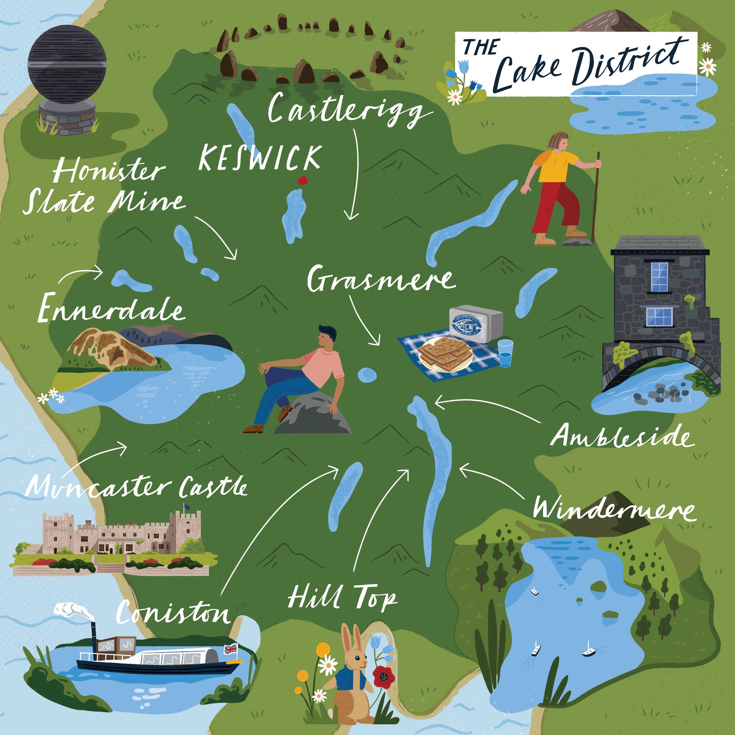 A Map of The Lake District for Discover Britain by Elly Jahnz