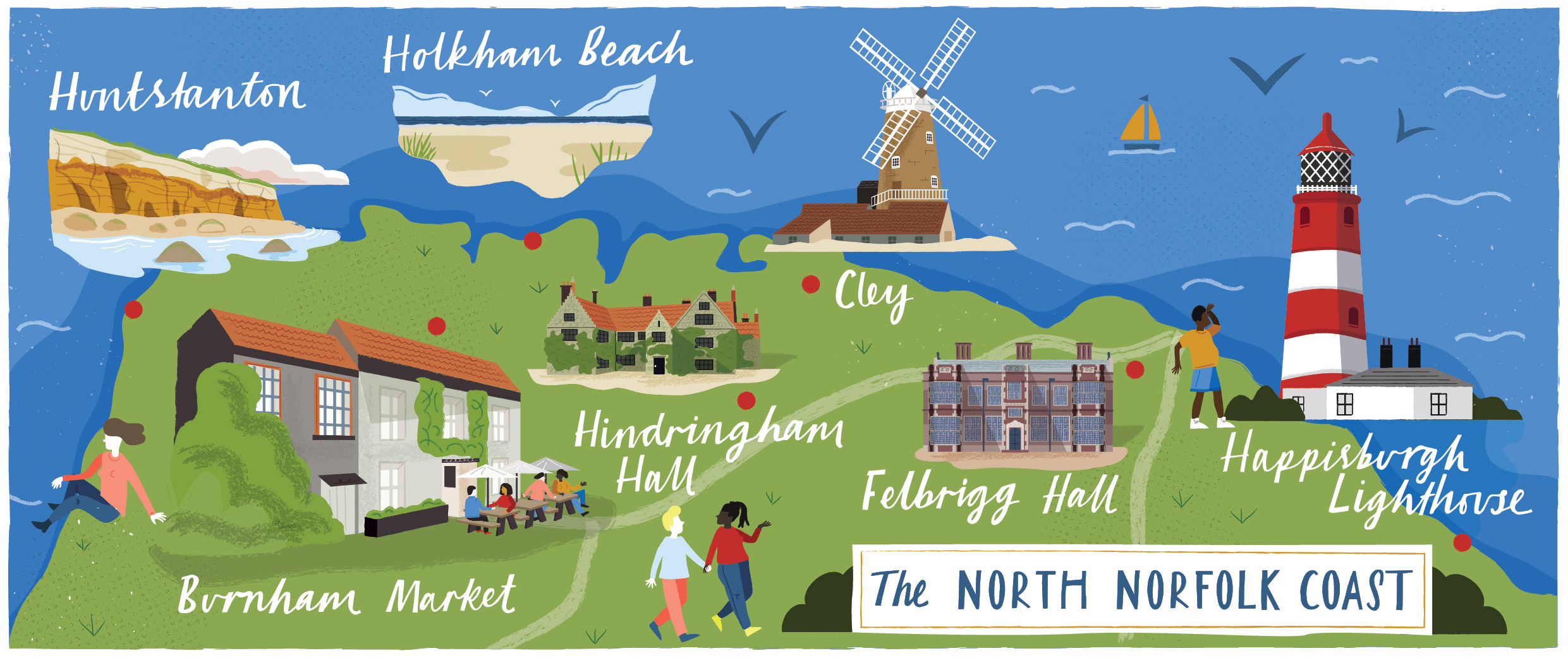 A map of North Norfolk for Discover Britain by Elly Jahnz