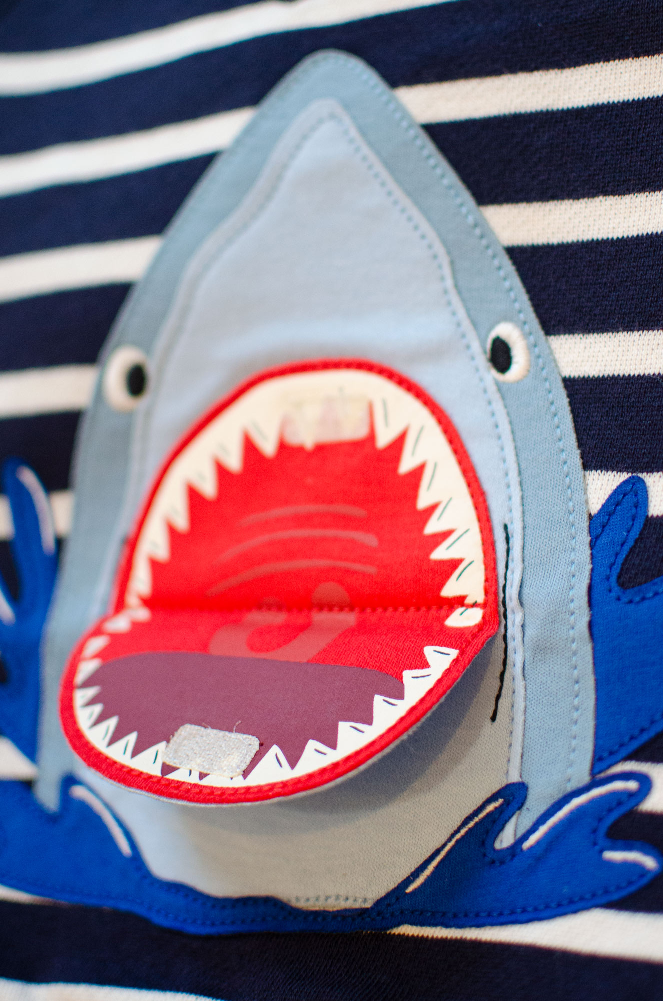Detail of children's illustration of a shark for Joules by Elly Jahnz