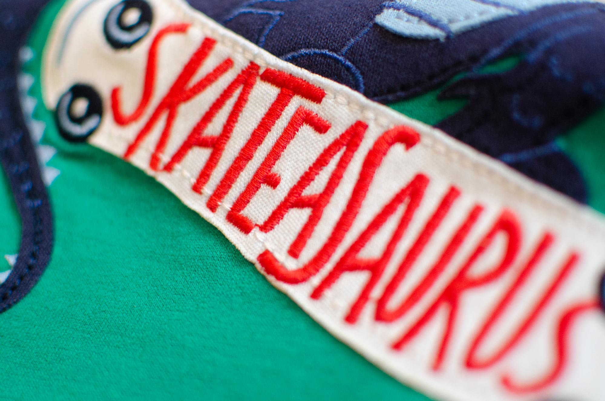 Skateasaurus embroidered letters for Joules by Elly Jahnz