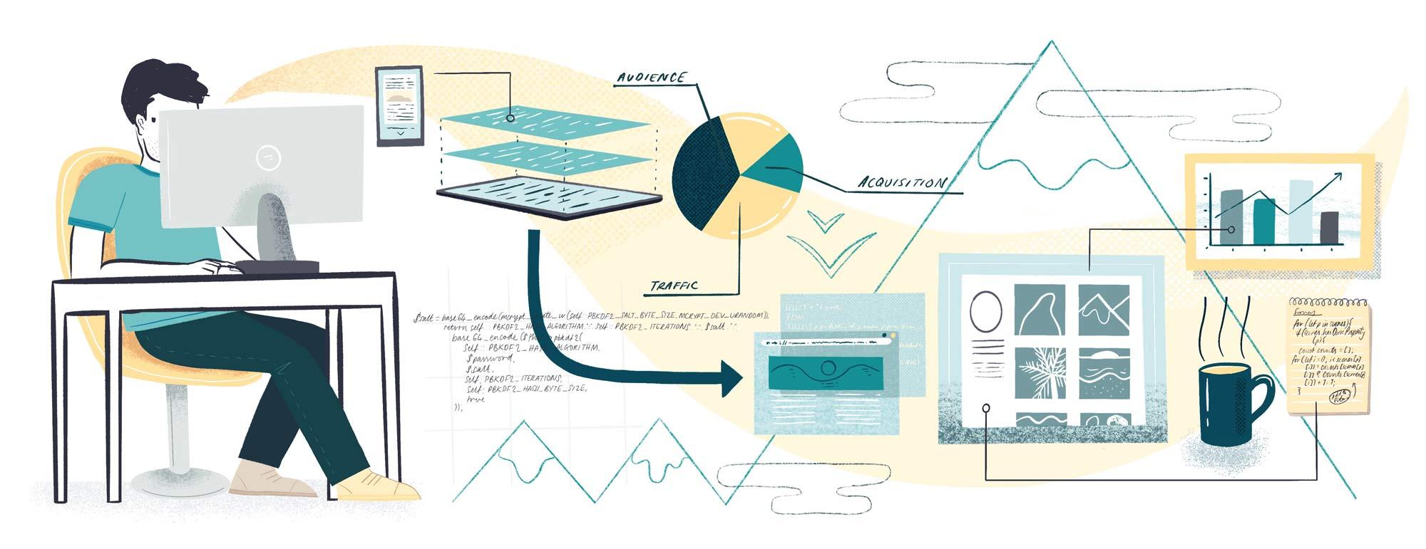Website illustrations for a Developer portfolio cover image
