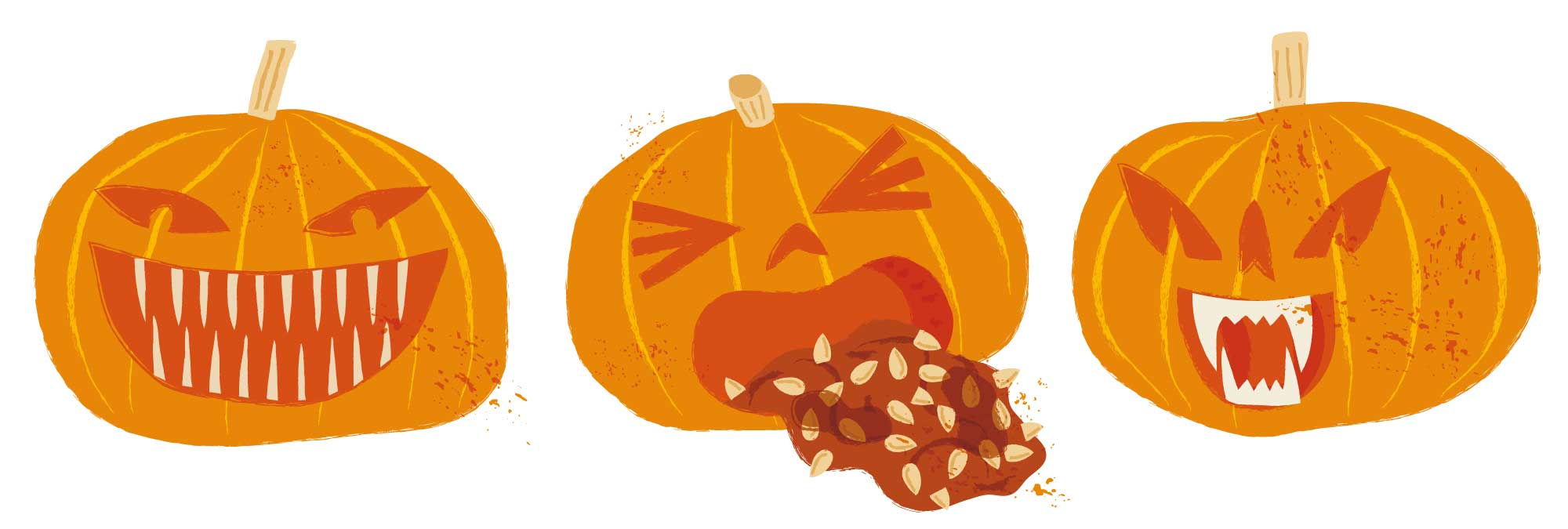 Three disgusting pumpkins by Elly Jahnz, for 2020: Nature Month by Month published by Nosy Crow