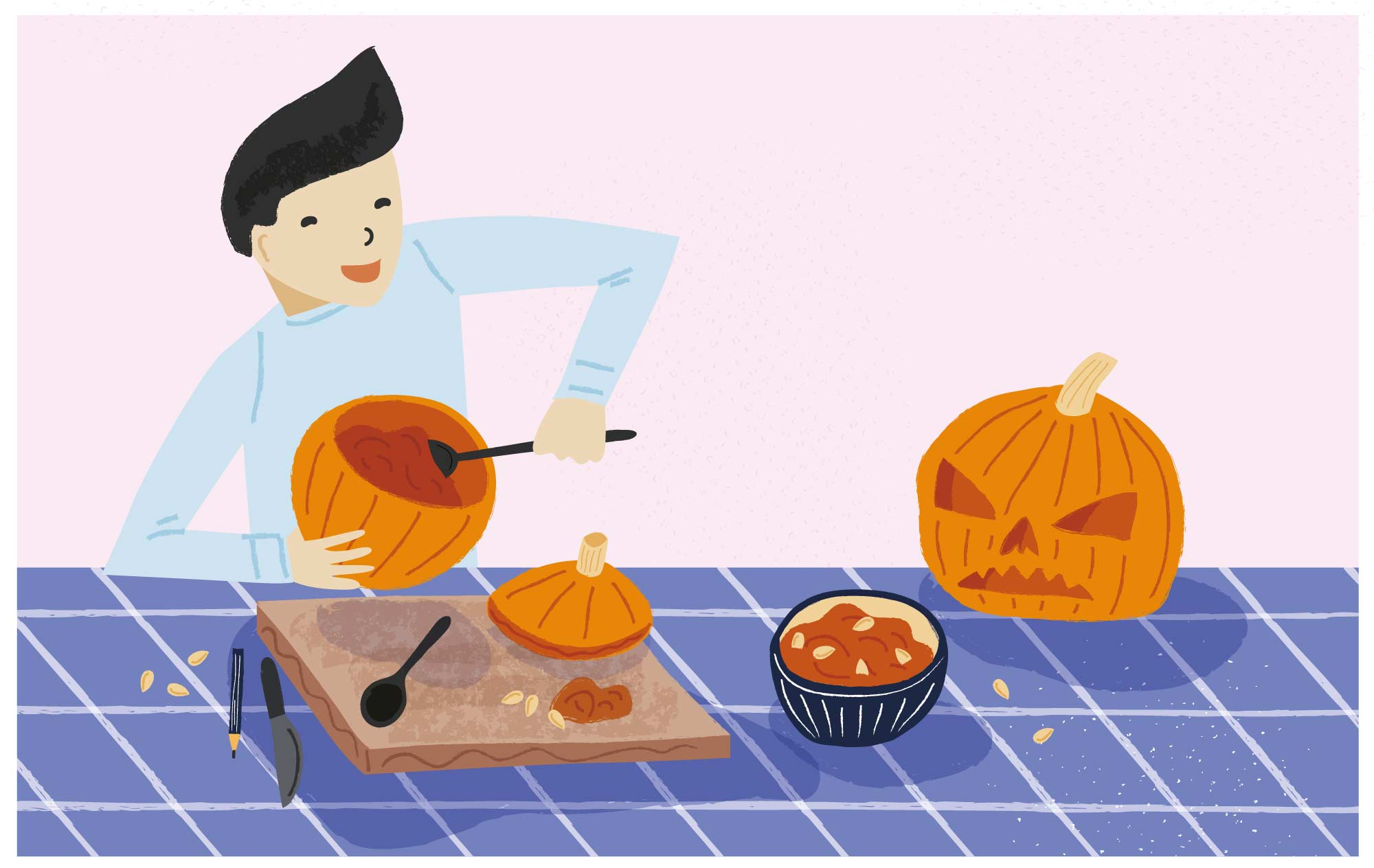 A boy carving a pumpkin by Elly Jahnz, for 2020: Nature Month by Month published by Nosy Crow