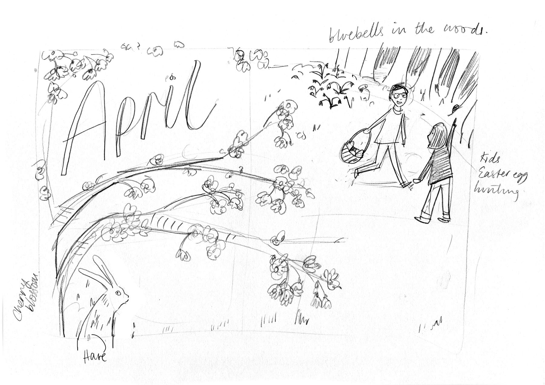 Rough sketch for April - 2019: Nature Month by Month by Elly Jahnz