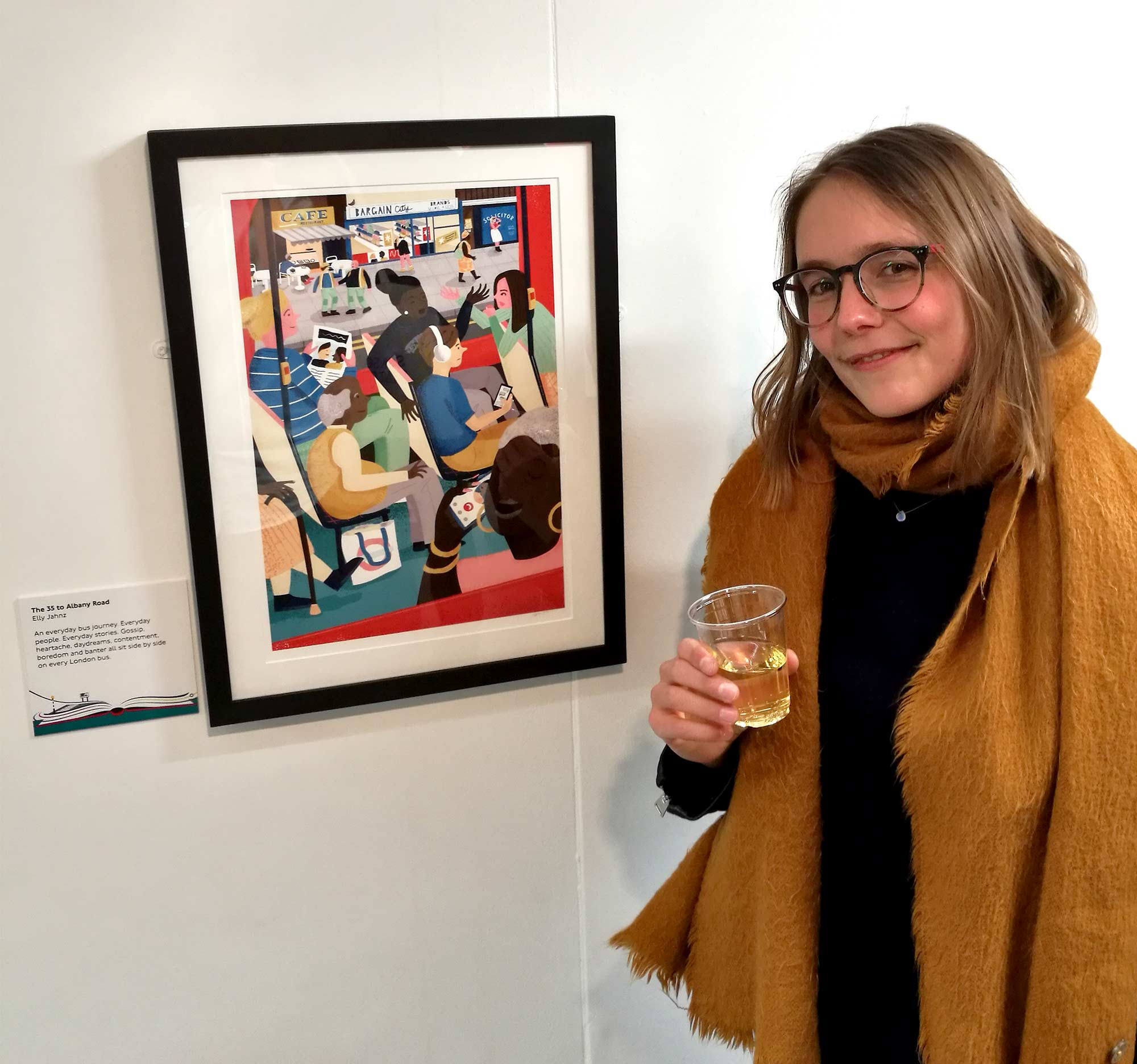 Me standing infront of my entry in the Poster Prize for Illustration exhibit.