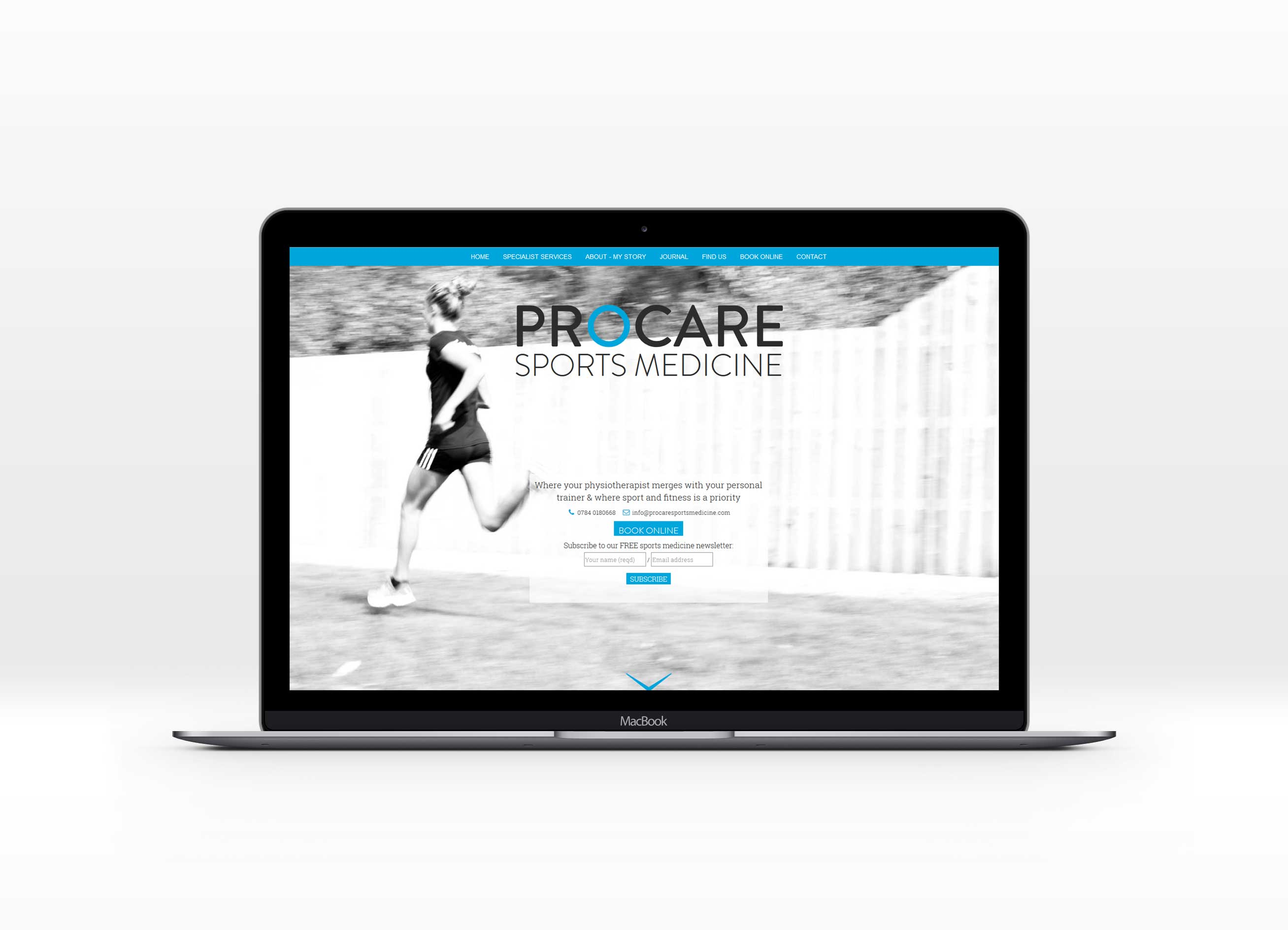 Website Homepage designed by Foxcub Studio for Procare Sports Medicine. Site build by Mike Hayes.