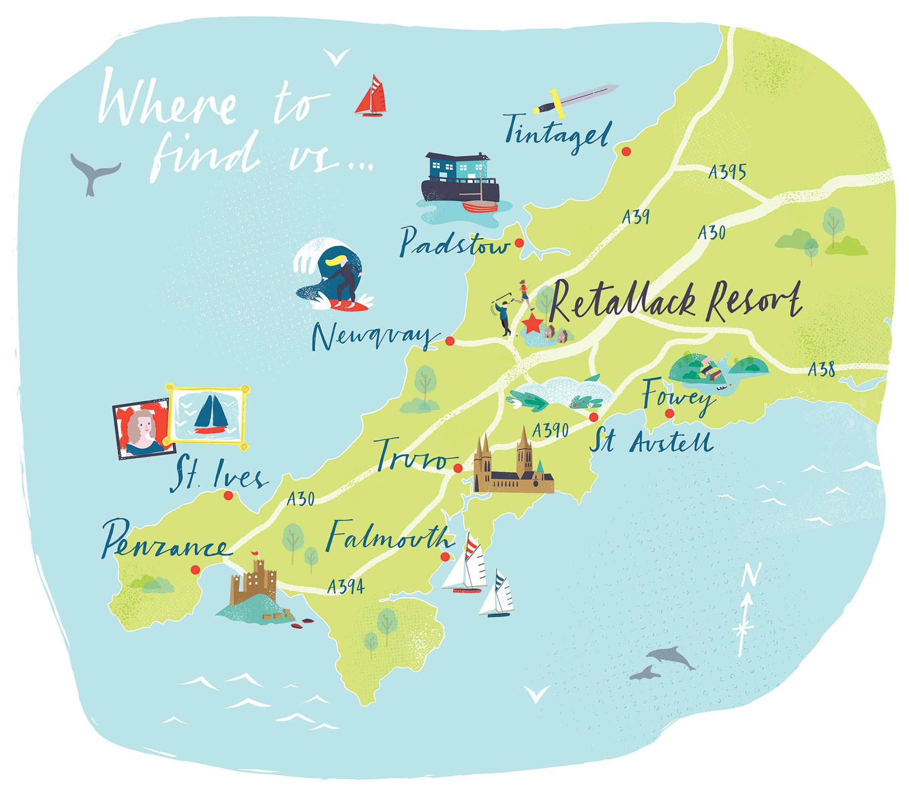 Illustrated Maps for a Premier Cornish Resort on