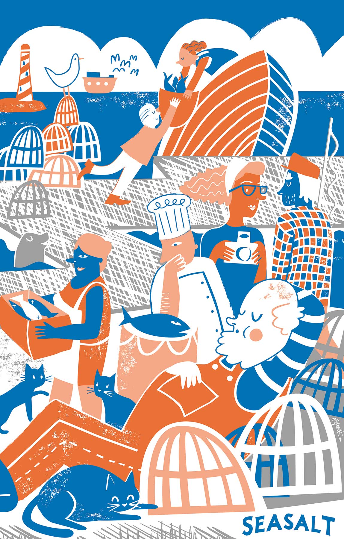 Cornish, nautical teatowel illustration designed in house at Seasalt Cornwall by Elly Jahnz, Foxcub Studio