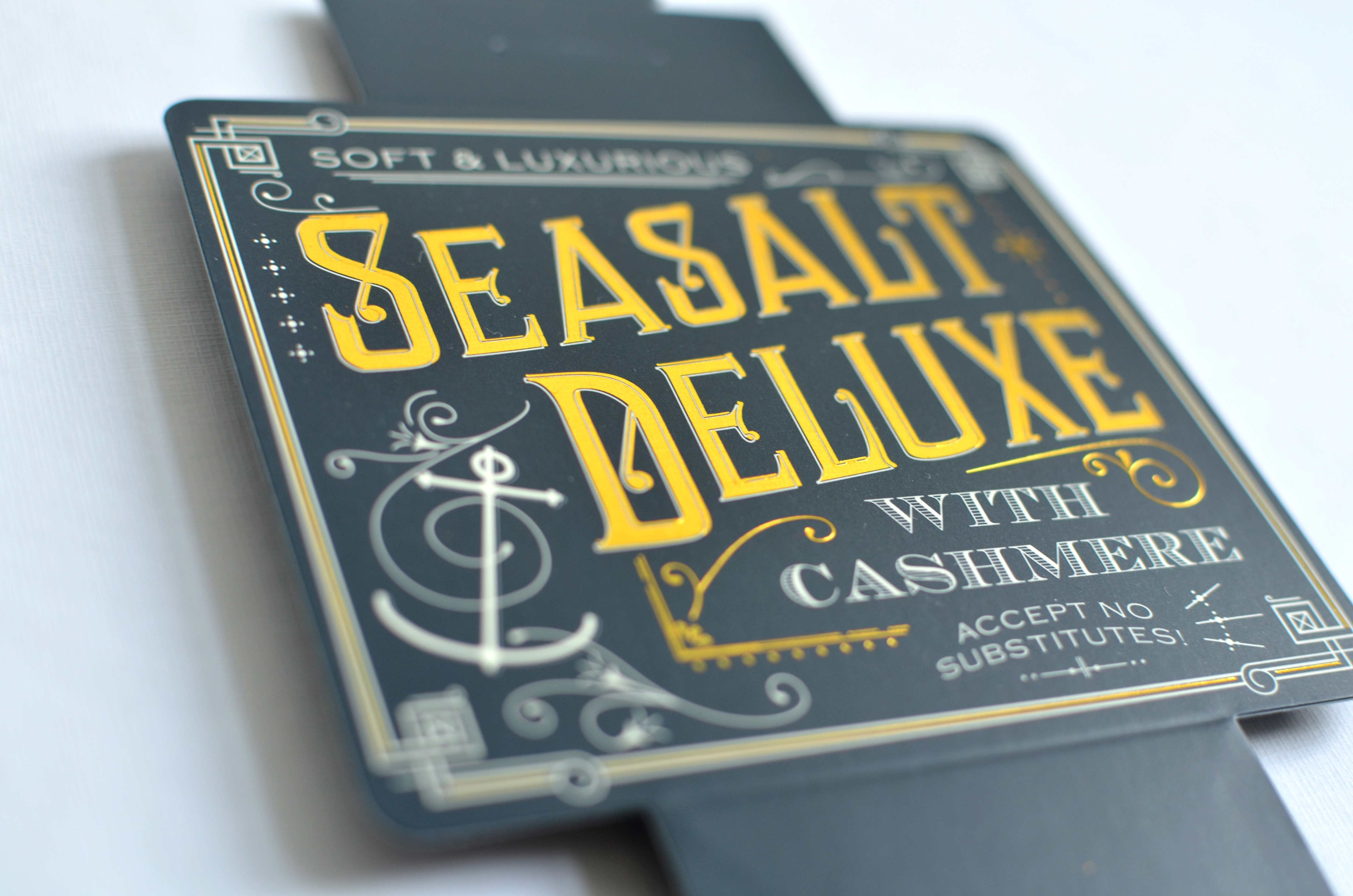 Uncoated, gold foil packaging for Seasalt Cornwall for their luxury range. By Elly Jahnz
